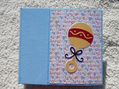 6x6 Baby Boy Scrapbook Album with Rattle by SimplyMemories on Etsy