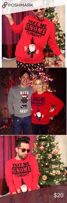 Take Me Gnome Tonight Unisex Christmas Sweater 🎄 Not so Ugly Take Me Gnome Tonight Christmas Sweater. Unisex Sweater. It's a men's size Small=Women's Medium. Gently used- great condition.  Super cute for Ugly Christmas Sweater Parties! 🎄🎄🎄 Sweaters Crewneck