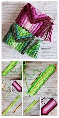 Scrap Yarn Bag Free Crochet Pattern + Video – DIY Magazine – häckeln mama – Home crafts Bonnet Crochet, Bag Crochet, Crochet Diy, Crochet Purses, Crochet Gifts, Crochet Stitches, Crochet Beanie, Crochet Dolls, Knitting Patterns