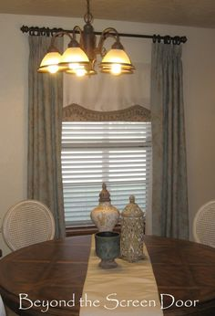Aqua and Ivory Curtains ~ Floor Length Panels and Undervalance | Beyond the Screen Door