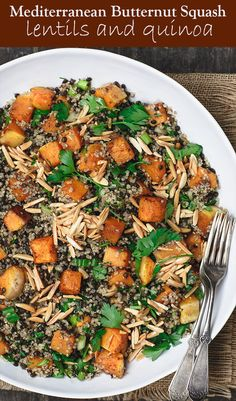 Easy Roasted Butternut Squash Recipe with Lentils and Quinoa The Mediterranean Dish A satisfying butternut squash dish with lentils and qunioa Filled with flavor from Me. Lentil Recipes, Vegetarian Recipes, Cooking Recipes, Healthy Recipes, Healthy Food, Burger Recipes, Steak Recipes, Vegan Meals, Healthy Meals