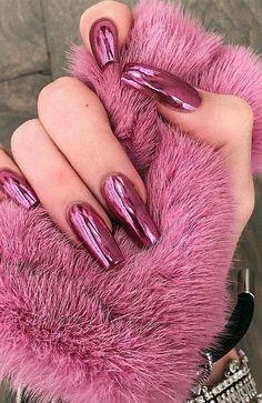 Metallic Nails Pink Chrome Nails, Light Pink Acrylic Nails, Hot Pink Nails, Sparkly Nails, Metallic Nails, Purple Nails, Matte Nails, Rose Gold Nails, Chrom Nails