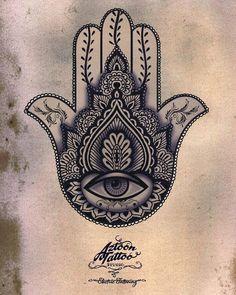 The protecting Hand of Hamza Symbol, By Aztoon Tattoo Studio