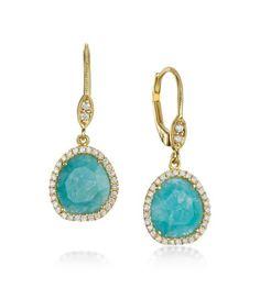Meira T. - Charm Earrings 14K Yellow Gold Amazonite Diamond Drop Earrings