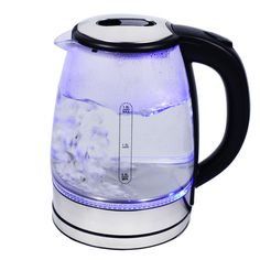 Automatic lid Opening Kettle Glass Black overheating Protection Blue LED Lighting Inside 1.7 Liter Glass Water Heater with Lime Filter BPA Free 2200 Watt Wireless