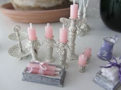 Shabby Chic Candleholder dollhouse real candle, #miniature by ashleyw