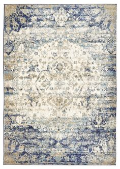 Rug Culture Anastasia Blue Rug - An elegant portrayal of delicate patterns with a hint of classical charm.