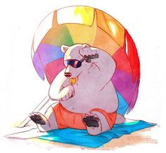 Summer is still pretty hot where I am. Do you guys struggle in the heat, no matter what you try to do to cool off? I feel like I manage okay but my boyfriend, not so much, hah. #nakanoart #illustration #artistsoninstagram #artofinstagram #artistsofinstagram #artoninstagram #artstagram #polarbear #cuteanimals #summer #beach