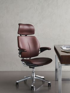 Brown Leather Humanscale Freedom High Back Chair