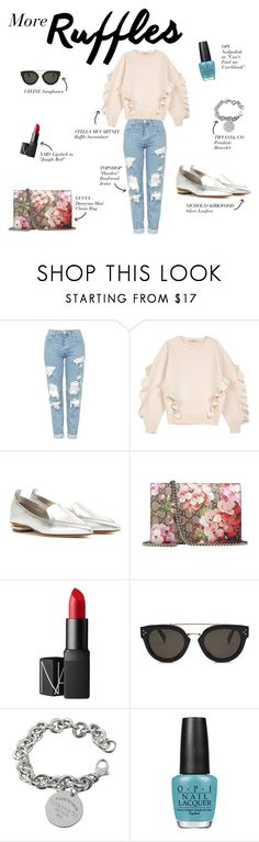 """""""More Ruffles, More Life."""" by polygonlane ❤ liked on Polyvore featuring Topshop, STELLA McCARTNEY, Nicholas Kirkwood, Gucci, NARS Cosmetics, CÉLINE, Tiffany & Co. and OPI"""