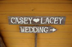 Wood Wedding Signs LARGE FONT With A Stake. Reception Decor, Wooden SIgns, Rustic Wedding Signs. $60.00, via Etsy.