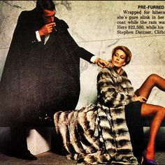 Pre-furred fantasies. Wrapped for hibernating or high times, she's pure slink in her full-length chinchilla coat while the ram warms in pension lamb. Stephen Dattner Melbourne.  Playboy August 1980  #playboy #australia #vintagefur #vintage #retro #1980s #80s #eighties #australian_vintage_clothing