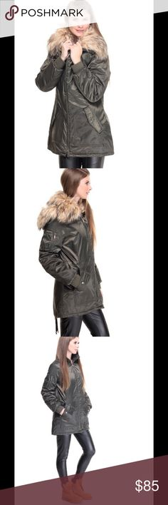 Brand New Steve Madden Olive Parka The Light Weight Snorkal Parka Satin Coat w/ faux Fur Collar by Steve Madden features: US Sizing Removable hood and faux fur collar Full zipper closure Small zipper pocket on right arm Front snap-button pockets D-Ring accent on back Split detail with drawstring closure on back hem Orange diamond quilted interior Light weight Snorkal Parka satin coat Imported  Polyester  Color: Olive Steve Madden Jackets & Coats Puffers