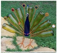 Wine bottle peacock!
