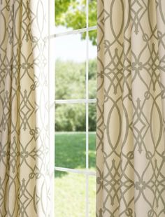 May need more color? Cotton Curtains, Drapes Curtains, Drapery, Curtain Designs, Window Dressings, Basement Remodeling, Valance Ideas, Printed Cotton, Half Price