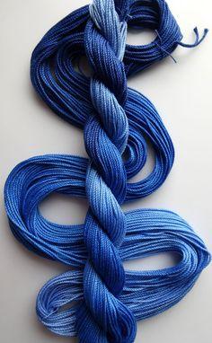 Size 3 Blue Streak hand dyed thread tatting crochet by yarnplayer (Craft Supplies & Tools, Fiber & Textile Art Supplies, Yarn & Roving, Yarn, cotton, hand dyed, size 3, bright, blue, shaded blue, thick thread, craft supplies, crochet cotton, string, macrame cord, knotting supplies, smooth cord)