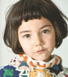 little girls with short bangs <3