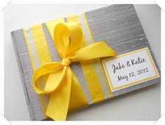 Bold Bright Yellow and Gray Wedding Guest Book (made to order). $41.00, via Etsy. ModernShabby.com