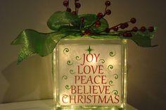 Joy Love Peace Believe Christmas Glass Block Light with vinyl lettering