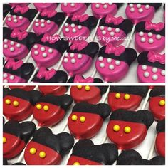 Minnie Mouse/Mickey Mouse Chocolate Covered Double Stuffed Oreo Pops(1 dozen) - Minnie Mouse, Birthday, Baby Shoer by HowSweetItIsByMeliss on Etsy https://www.etsy.com/listing/164402157/minnie-mousemickey-mouse-chocolate
