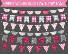 Free Clip Art Valentine's Day Bunting Flags
