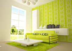 Living Room, Patterned Green Wall Also Green Loveseat Plus Green Shag Area Rug Besides Modern Square White Coffee Table And White Wall Shelf With Storage With White Bulb Chandelier  White Glass Door: 8 Best Living Room Color Pattern Ideas