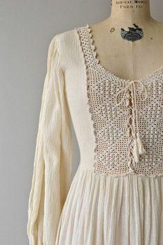 Cream Crochet top women Cotton