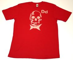 DEAD MANS PARTY  - 9% cotton / 8% polyester  - short sleeve v neck  - red cream print  PRICE: $30.00    http://www.druedun.com/store/44/117/DEAD-MANS-PARTY.html