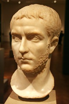 Portrait of Gallienus, AD 253-268. Initiated  a renaissance of old Roman values and art. His portraiture reflects a return to Augustan classicism, and his skin begins to appear smoother, as opposed to wrinkled, like his predecessor's. The locks of hair on his forehead are reminiscent of Augustus.