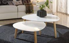 75€ Pack de 2 mesas de centro lacadas en color blanco. Conjunto de #mesasdecentro fabricadas con una capa de DM #lacadas en color Blanco a diferentes alturas con las patas de #madera de #Haya en color natural. Deskontalia Planes - Descuentos del 70%. Ofertas. #mesasdecentro #muebles #decoración #deco #madera #haya #blanco #diseño #mueblesdediseño #salón