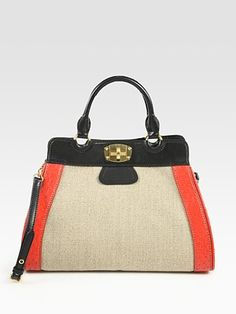 Miu Miu Linen and Ostrich Top Handle Bag.