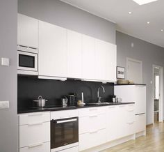 Kitchen , Awesome Black And White Kitchens : Black And White Kitchens White Cabinets And Black Backsplash And Grey Walls