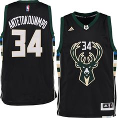 Men's Milwaukee Bucks Giannis Antetokounmpo adidas Black Swingman climacool Jersey