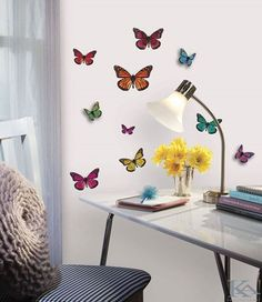 3 D butterfly wall decals 20 Creative Wall Decals for Kids 3d Wall Decals, 3d Butterfly Wall Stickers, Wall Murals, Wall Décor, Butterfly Room, Butterfly Kids, Wall Art, Diy Wall, Butterfly Decorations