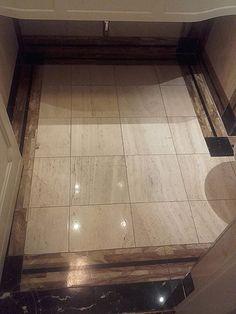 finished bathroom floor - wanna walk on it barefoot? Sparkling Drinks, Stone Flooring, Bathroom Flooring, Barefoot, Tile Floor, It Is Finished, Home, Ad Home, Tile Flooring