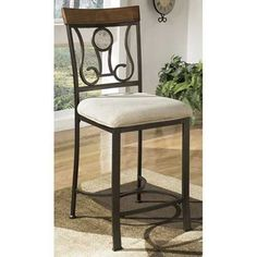 """Bring inviting traditional style into your home with the Hopstand 24 """" Barstool from Ashley Furniture. Available online or in store. Farmhouse Stools, Counter Height Bar Stools, Traditional, Chair, Table, Furniture, Home Decor, Store"""