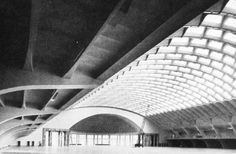 Pier Luigi Nervi, Turin Exhibition Hall B (Palazzo per esposizioni salone B) in Turin, Torino, Piedmont, Italy, built in 1947 - 1949. Structure: A reinforced concrete shell barrel vault (ribbed). Rise: 18.4m Covered area: 95.10 x 80.50m Span: 71.1m