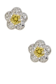 Yellow Beryl & White Diamond Flower Stud Earrings by Savvy Cie on @HauteLook