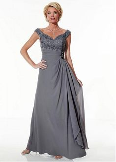 Chiffon A-line Skirt V-Neckline Floor-Length Mother of the Bride Dresses