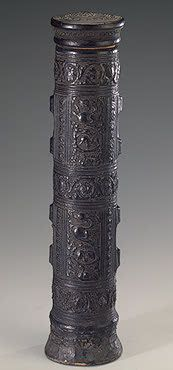 Encased Scroll, Italy, 15th century, Leather and wood; stamped. H. 35 cm