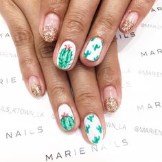 Cactus nail art from MARIE NAILS LA location! Give us a call to make an appointmen