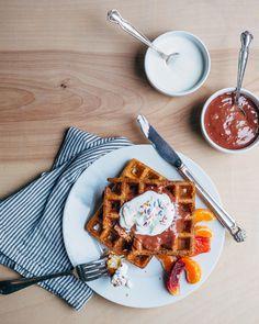 overnight waffles with blood orange curd // brooklyn supper