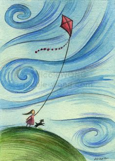 """Original collectible ACEO art - pencil drawing & watercolor painting - """"Windy kite flying"""""""