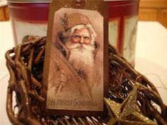12 VINTAGE CHRISTMAS TAGS ~PRIMITIVE~GRUNGY