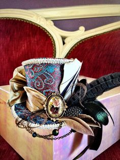 Steampunk Mad Hatter Mini Top Hat by TwoBackFlats on Etsy