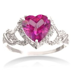 2ct Pink Topaz Heart-Shaped Ring With Diamonds In Solid Sterling Silver, Available Ring Sizes 5-8
