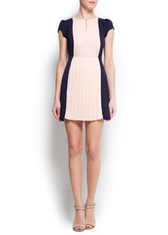 MANGO - CLOTHING - New Collection - Two-tone pleated dress