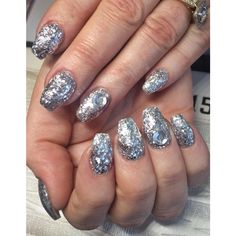 Sparkly bright silver acrylic set ! #notpolish