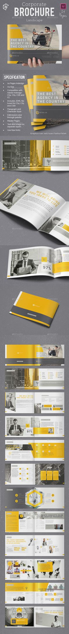 Landscape Corporate Brochure Template InDesign INDD