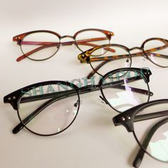 48bb030f36f86 Double Studs Half Frame Clear Lens Glasses Round Leopard Tea Matt Black  Vintage